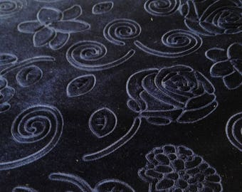 Beautiful Navy Blue Floral Embossed Fabric Des.4  Sold By the Yard