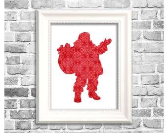 Christmas Santa Art / Santa Print / Santa Silhouette / Printable Santa Claus / Red Santa Wall Art / Christmas Decor / Santa Decor Art