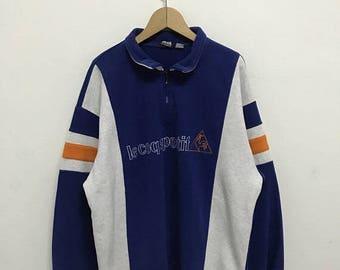 20% OFF Vintage Le Coq Sportif Big Logo Half Zipper/Le Coq Sportif Sweater/Le Coq Sportif Crewneck/Le Cop Sportif Spell Out