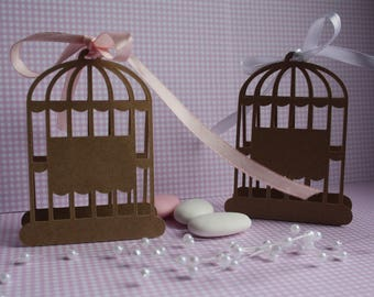 Vintage, country or rustic style set of 6 cards in the form of birdcage for wedding, communion or baptism decoration