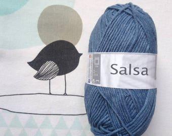 WOOL SALSA blue shades - white horse