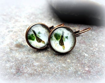 Cabochon earrings bird nostalgia