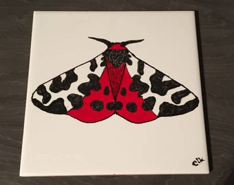 Ceramic Tile Painting, Original. Tiger moth red, black and white bug creepie crawley insect plaque butterfly butterflies