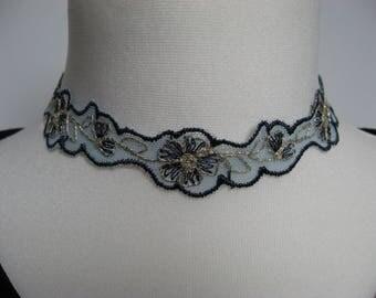 Lace Choker- Embroidered lace choker- Blue lace choker- Boho Summer choker- Eveningwear necklace choker