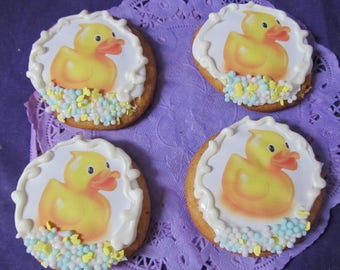 Duck baby shower ducky sugar cookies