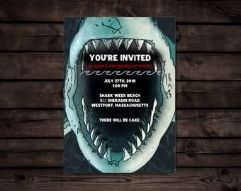 Shark Party invitation // Editable PDF // Digital File Instant Download
