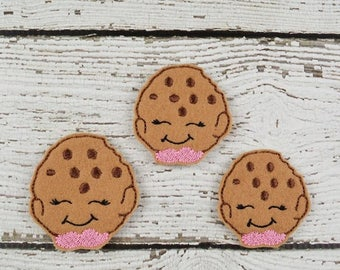 Cookie Feltie Set of 4 - Hair Bow Supplies - Clippie Cover - Badge Reel Cover - Craft Supply - Scrapbooking - Card Making - Planner Clip