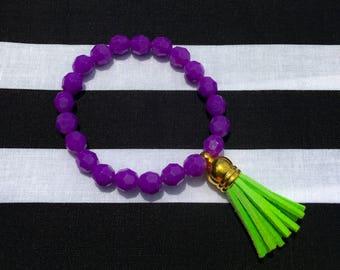 Purple and green tassel bracelet