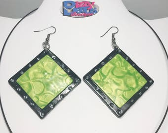 Green Necklace Earring Set - Handmade - Dangle - Gift - Birthday - Anniversary - Polymer Clay - Unique - Green Black
