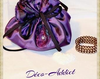 Purse evening or wedding look purple glints taffeta