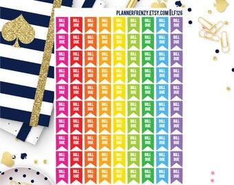 90 Mini Bill Due Flag Planner Stickers! LF126