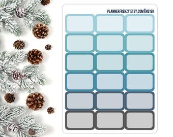 18 Winter Chill Collection Rounded Edge Half Box Planner Stickers! HS198