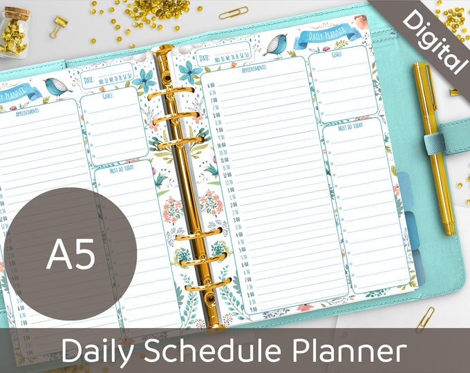 A5 Daily Schedule Planner Printable, Filofax A5 printable refills, Appointment Book, Arinne Blue Bird DIY Planner PDF Instant Download