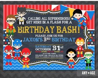 Superhero Birthday Invitation, Personalized Superhero Invitation, Superhero Invite, Superhero Birthday Paty Invitation, Superheor Invitation
