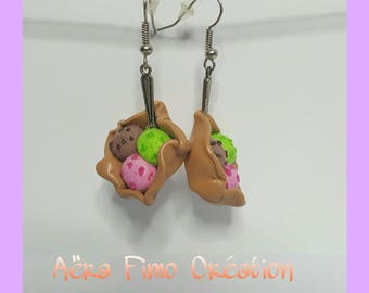 """Earrings fimo """"three flavors of ice balls"""""""
