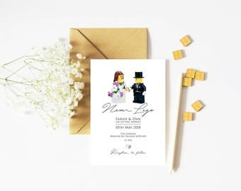 "50 ""Never Lego"" Lego Personalised Wedding Invitations!"