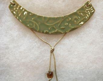 Unique Soft Moss Green Necklace