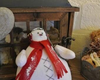 Snowman fleece white red fleece scarf