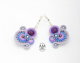 Colorful Earrings Small Dangle Earrings Gray Purple Drop Boho Earrings Everyday Earrings Soutache Beaded Jewelry