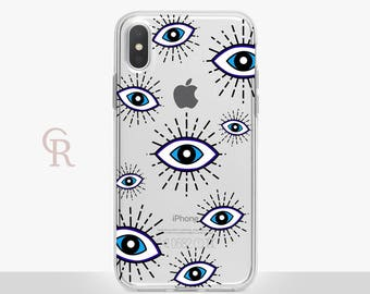 Eye iPhone X Clear Phone Case - Clear Case - For iPhone 8 - iPhone X - iPhone 7 Plus - iPhone 6 - iPhone 6S - iPhone SE Transparent