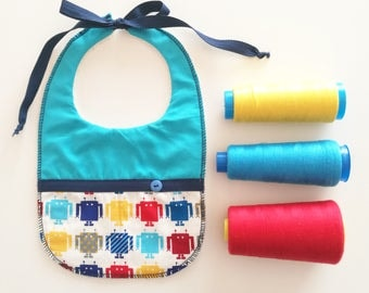 Baby bib with colorful Robot fantasy