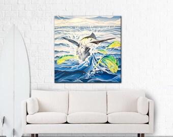 "Chasing Mahi - Original Oil on Canvass 36"" x 36"""