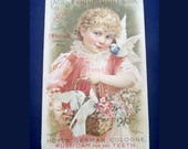 Antique Victorian Trade Card, Hoyt German Cologne, Perfumed Calendar, Collectible Lithograph Advertisement, Printed 1894