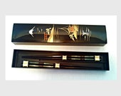 Vintage Chopsticks, 2 Sets of Black Lacquer & Inlay Chopsticks in Box, Made in Japan, Unused Lacquerware, Mid Century, Circa 1960s