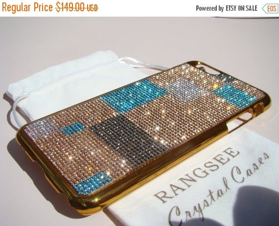 Sale iPhone 6 Plus / 6s Plus. Abstract Art Design Case . 4 Colors of Rhinestone Crystals on Gold Chrome  Case. Genuine Rangsee Crystal Cases