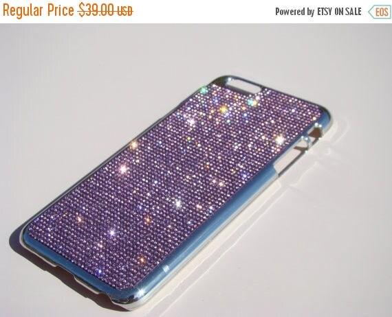 Sale iPhone 6 Plus / 6s Purple Amethyst Rhinestone Crystals Silver Chrome Case,  Velvet/Silk Pouch Bag Included, Genuine Rangsee Crystal Cas