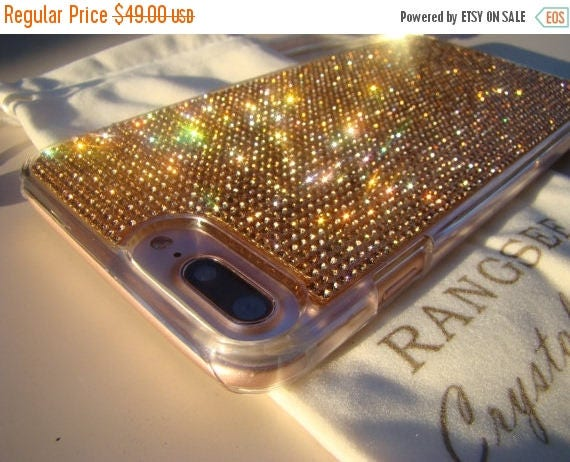 Sale iPhone 7 Plus Case Rose Gold Rhinestone Crystals on Transparent Clear Case. Velvet Pouch Included, Genuine Rangsee Crystal Cases