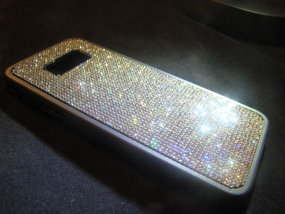 Galaxy S8+  Rhinestone Crystals on Black Rubber Case. Velvet/Silk Pouch Bag Included, Genuine Rangsee Crystal Cases.