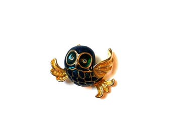 1 BROOCH OWL OWL 42 MM X 40 MM ANTIQUE GOLD AND BLUE GREEN ENAMEL