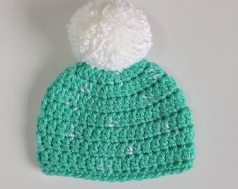 PomPom Winter Beanie, Ready to Ship, Crochet Hat Baby, Baby Boy Hat, Baby Girl Hat, Baby Pompom Hat, Crochet Beanie, Gender Neutral