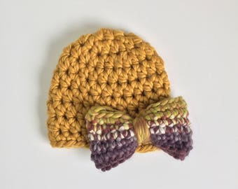 Mustard Beanie with Bow, Ready to Ship, Newborn Crochet Hat, Baby Girl Hat, Newborn Crochet Beanie, Bow Beanie, Baby Shower Gift Girl