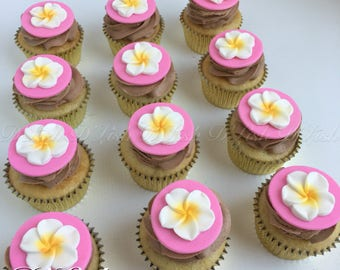 Plumeria Tropical Flower Cupcake Toppers (12)