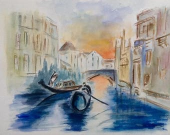 Venice - the grand canal - watercolor 24 x 32