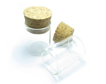 GLASS vial 30x22mm D ornament and Cork stopper