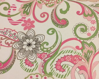 Pink & Green Whimsical Paisley, Light switch covers,light switch plate,outlet covers,outlet plates,home decor, wall art
