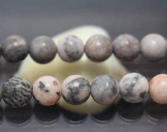 Pink Zebra Jasper Gemstone Round Beads, 15'' one strand ( 6 mm 8mm 10mm 12mm )