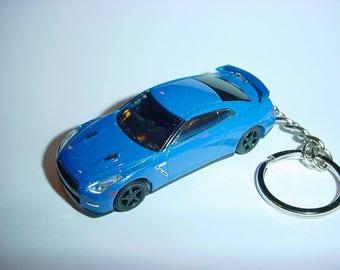 3D 2014 Nissan Skyline GT-R35 custom keychain by Brian Thornton keyring key chain finished in blue color trim r 35 gtr nismo