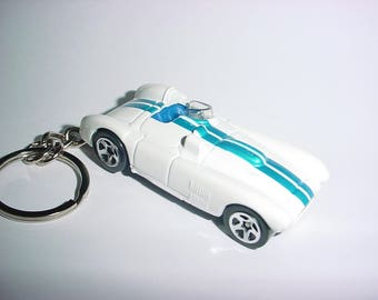 3D Racer custom keychain by Brian Thornton keyring key chain finished in white/blue racing trim race bling