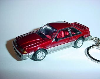 3D 1990 Ford Mustang GT custom keychain by Brian Thornton keyring key chain finished in red/silver color trim hood opens diecast metal body