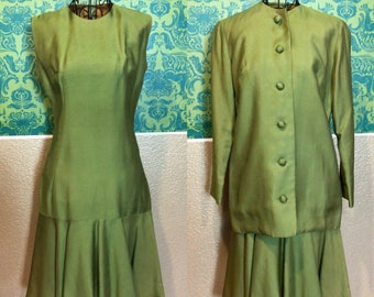 Vintage 1960s Set - Green Dress & Jacket Suit Set - S