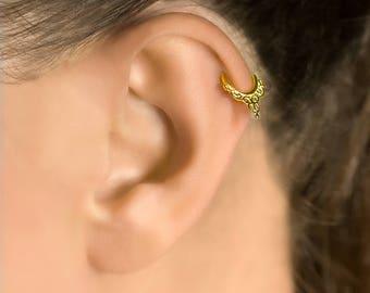 Daith earrings. helix earring. cartilage earring. tragus earring. tribal earrings. tiny hoop earrings. tiny hoops. tiny earrings.