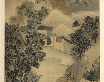 "1909, Japanese antique woodblock print, Yosa Buson, ""渓村晩露、秋林伐木図双福""."
