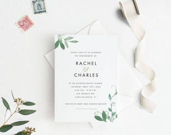 Modern Botanical Engagement Party Invitation, Engagement Invitation, Engagement Dinner Invitation PDF, Letter or A4 Size (Item code: P1061)