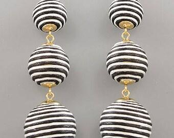 Black & White Cord BonBon Drop Earrings