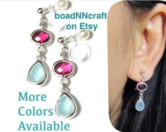 Invisible clip on earrings |I|, Dangle earrings, drop earring, long wedding clip earring, bridal clip earring, mint earring,hot pink earring