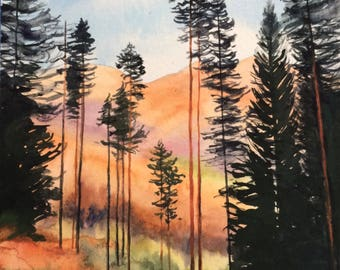 Norway painting, tree painting, pine trees, fir trees, mountain watercolor, Norway mountains, mountain trees, watercolor trees, landscape